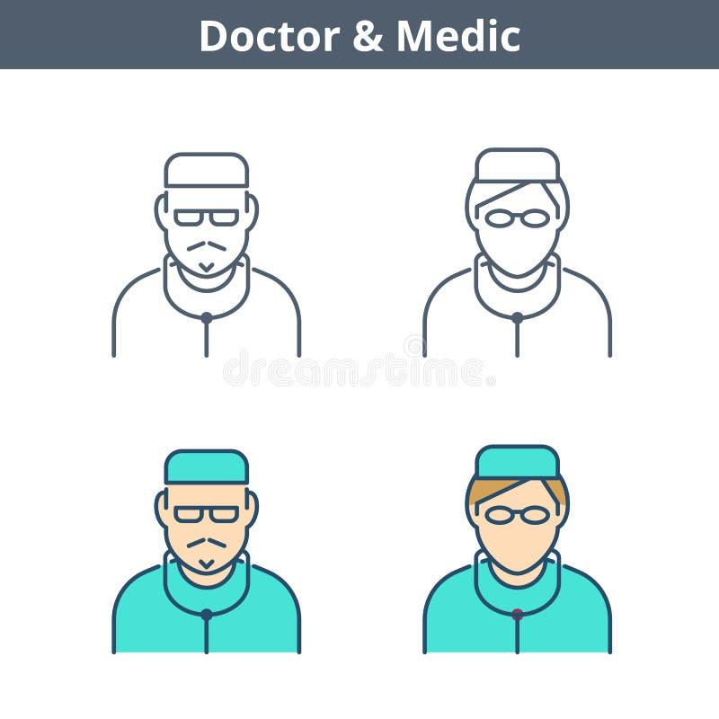 Το γραμμικό είδωλο επαγγελμάτων έθεσε: γιατρός, γιατρός, νοσοκόμα Λεπτό outlin απεικόνιση αποθεμάτων