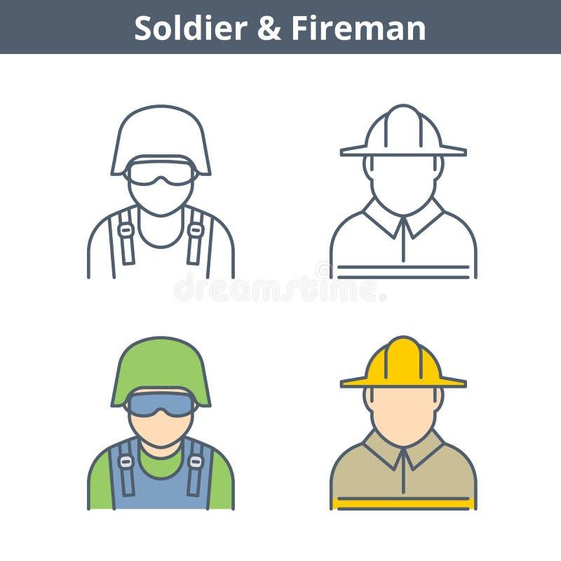 Το γραμμικό είδωλο επαγγελμάτων έθεσε: πυροσβέστης, στρατιώτης Εικονίδια περιλήψεων διανυσματική απεικόνιση