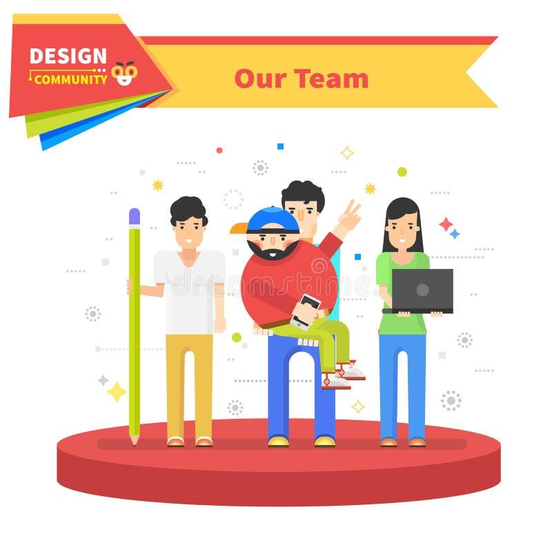 Το γραμμικό επίπεδο σχέδιο ομάδας επιτυχίας μας απεικόνιση αποθεμάτων