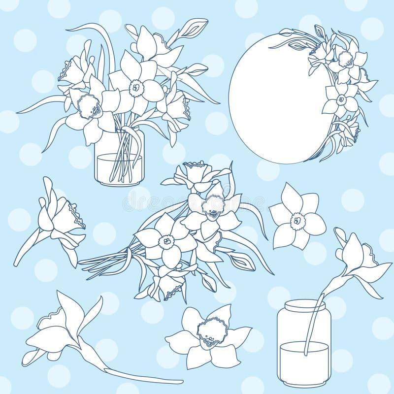 Το γραπτό απομονωμένο μελάνι διάνυσμα clipart έθεσε την απεικόνιση των λουλουδιών ναρκίσσων άνοιξη διανυσματική απεικόνιση