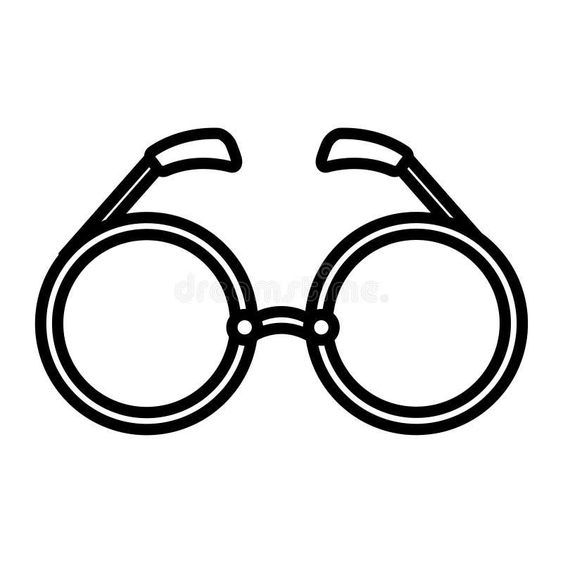 Το γραπτό εικονίδιο είναι απλά γραμμικά γοητευτικά eyeglass μόδας γυαλιά ηλίου με τους στρογγυλούς φακούς, ένα εξάρτημα για τον ι ελεύθερη απεικόνιση δικαιώματος