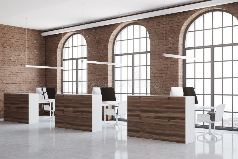 Το γραφείο ανοιχτού χώρου τούβλου, παράθυρα αψίδων κλείνει επάνω διανυσματική απεικόνιση
