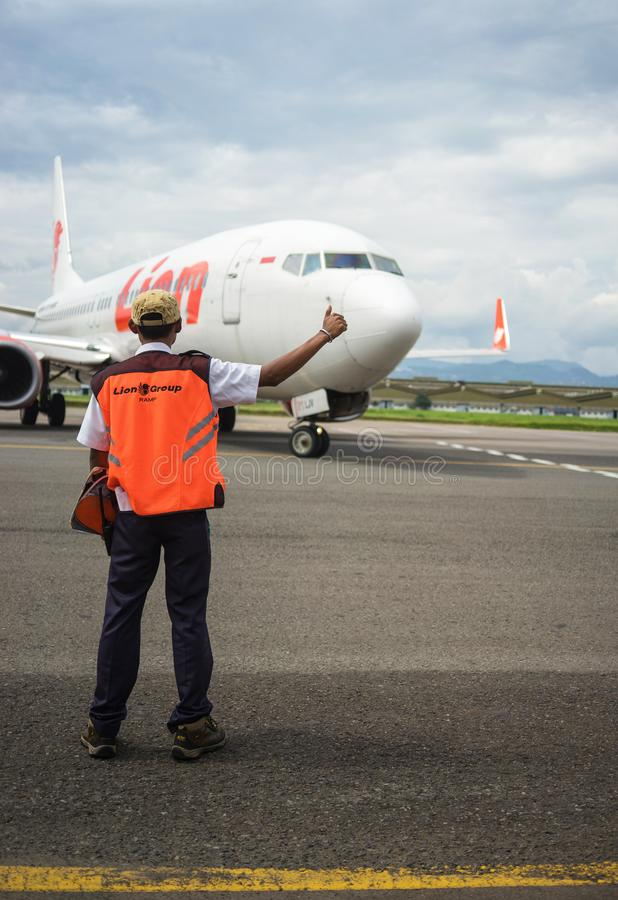 Το γραφείο συντήρησης λέει το πρόστιμο στο αεροπλάνο λιονταριών, Bandung Ινδονησία στοκ φωτογραφία