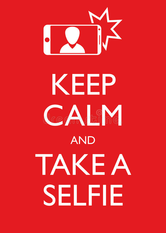 Το γραφικό διάνυσμα απεικόνισης αφισών κρατά ήρεμος και παίρνει ένα Selfie διανυσματική απεικόνιση