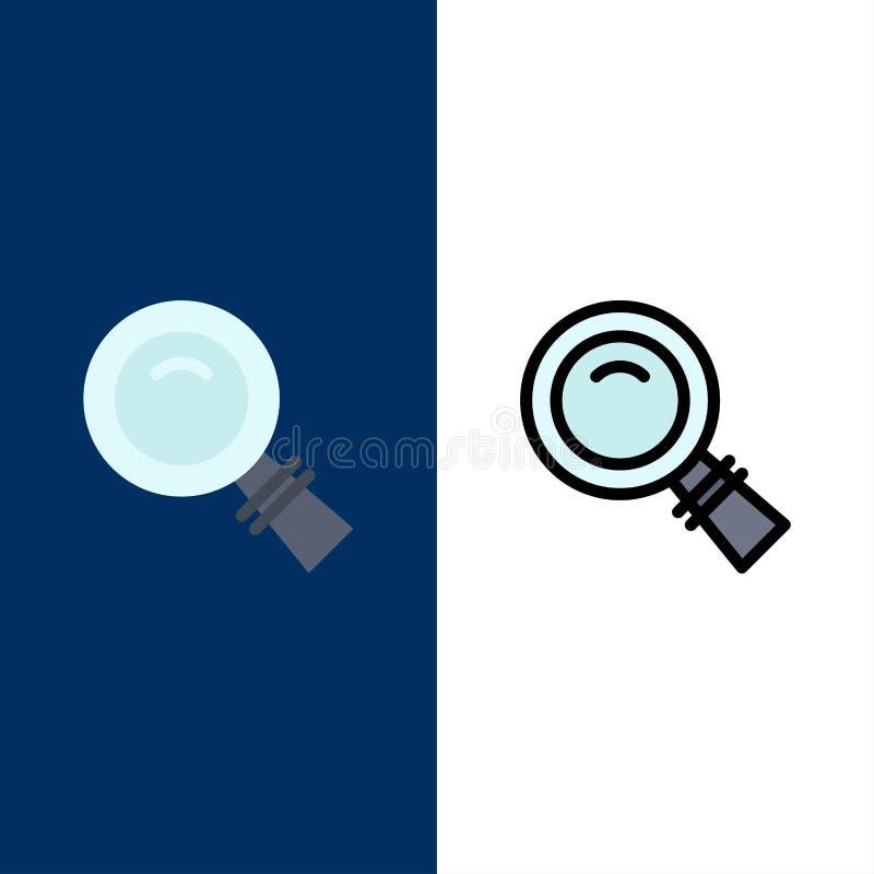 Το γυαλί, κοιτάζει, ενίσχυση, εικονίδια αναζήτησης Επίπεδος και γραμμή γέμισε το καθορισμένο διανυσματικό μπλε υπόβαθρο εικονιδίω απεικόνιση αποθεμάτων