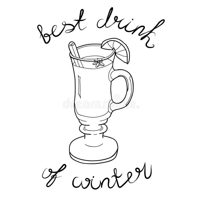 Το γυαλί με τη θερμαμένη περίληψη και την εγγραφή κρασιού είναι το καλύτερο ποτό του χειμώνα στοκ εικόνα με δικαίωμα ελεύθερης χρήσης