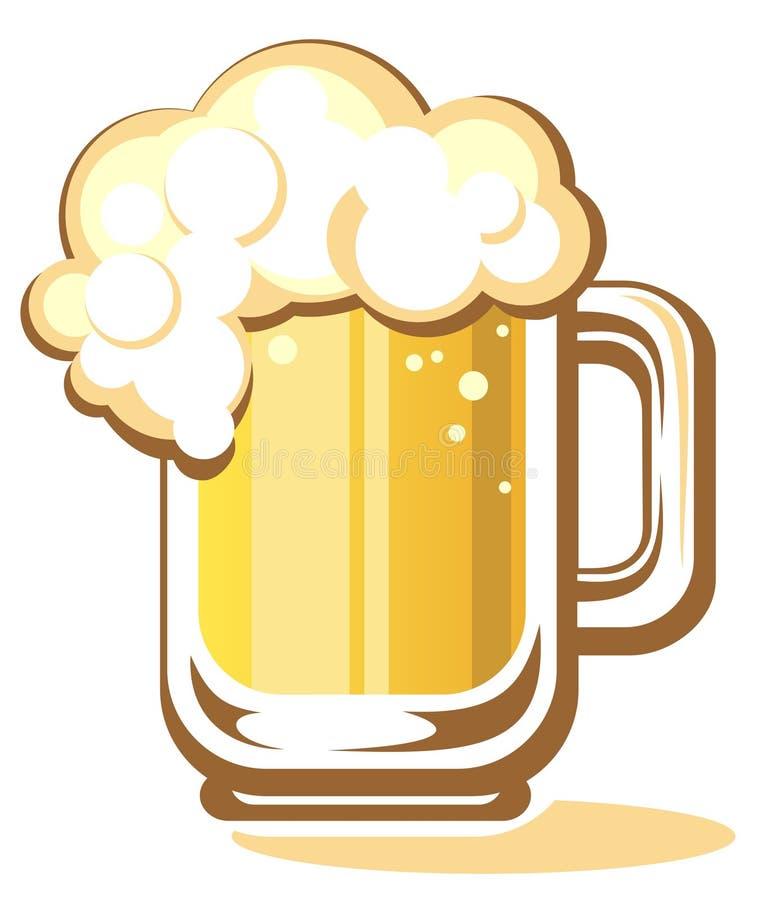 το γυαλί μπύρας απομόνωσε το λευκό απεικόνιση αποθεμάτων