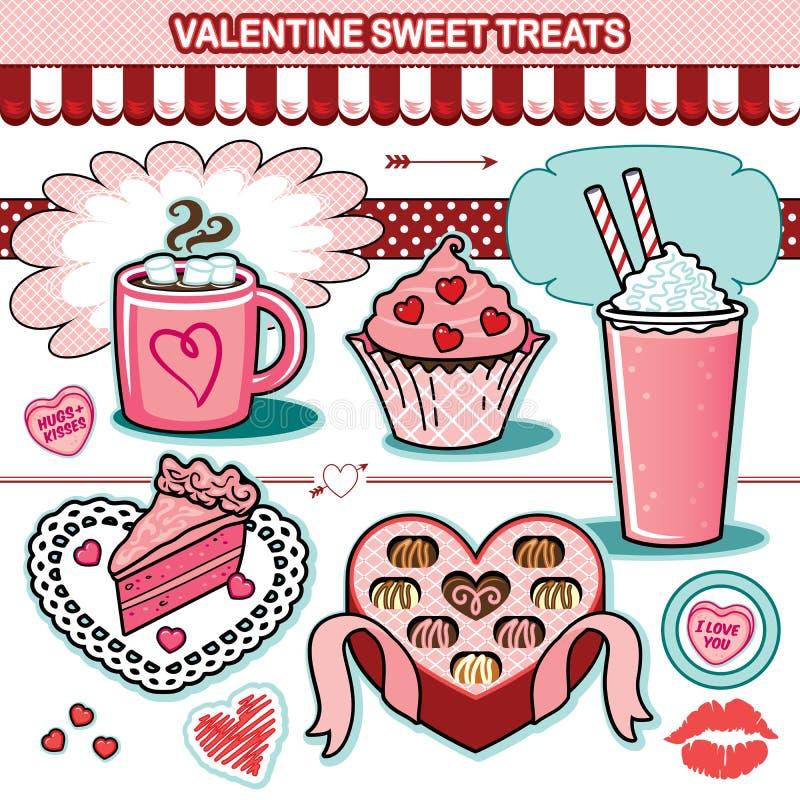 Το γλυκό βαλεντίνων μεταχειρίζεται το κέικ καρδιών καραμελών σοκολατών συλλογής απεικόνισης cupcake διανυσματική απεικόνιση