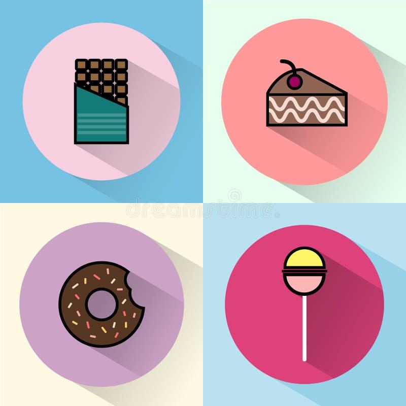 Το γλυκό μεταχειρίζεται γύρω από το σύνολο εικονιδίων απεικόνιση αποθεμάτων