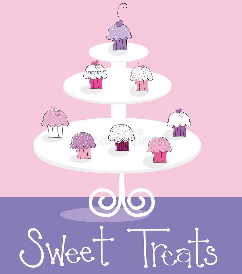 Το γλυκό Cupcakes μεταχειρίζεται ελεύθερη απεικόνιση δικαιώματος