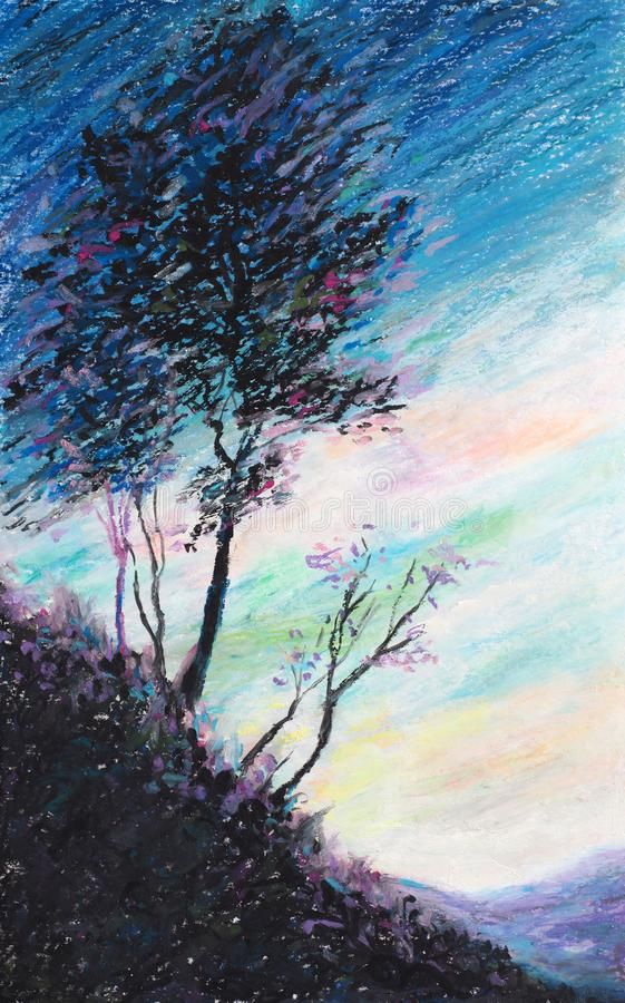 Το δέντρο και ο ουρανός - αρχική ζωγραφική κρητιδογραφιών πετρελαίου - Impressionism - σύγχρονη τέχνη στοκ εικόνες