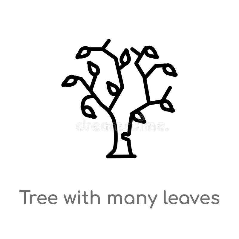 το δέντρο περιλήψεων με πολλούς αφήνει το διανυσματικό εικονίδιο απομονωμένη μαύρη απλή απεικόνιση στοιχείων γραμμών από την έννο απεικόνιση αποθεμάτων