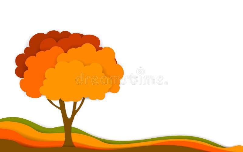 Το δέντρο πτώσης φθινοπώρου στο ψηφιακό βαλμένο σε στρώσεις έγγραφο επίδρασης έκοψε το ύφος, απομονωμένο διάνυσμα ελεύθερη απεικόνιση δικαιώματος