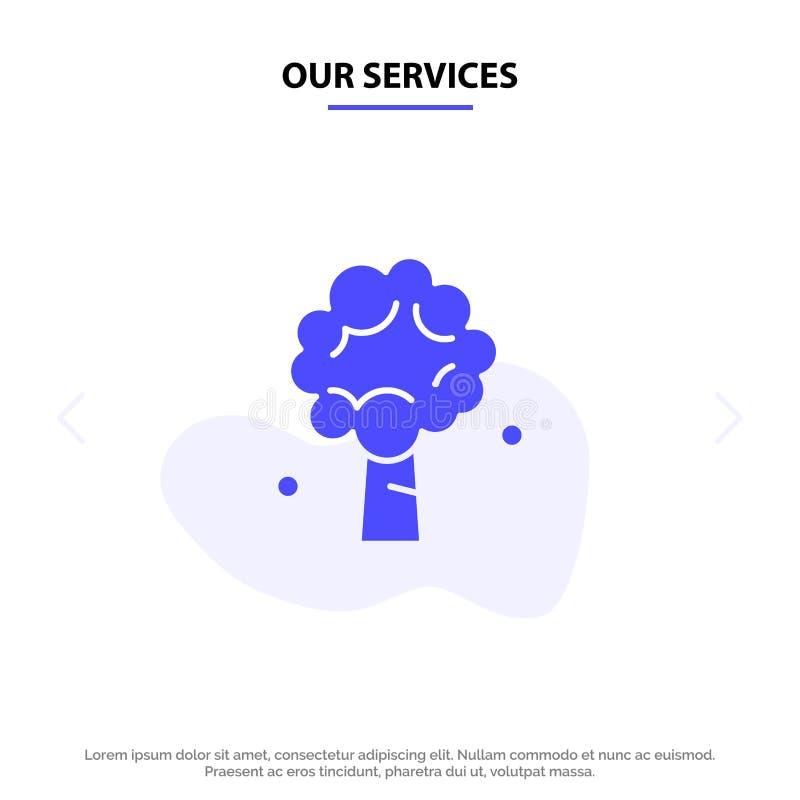 Το δέντρο υπηρεσιών μας, Apple, δέντρο της Apple, φύση, στερεό πρότυπο καρτών Ιστού εικονιδίων Glyph ανοίξεων διανυσματική απεικόνιση