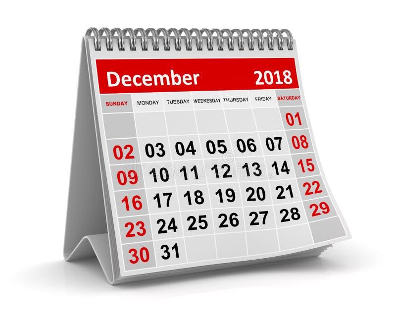 Το Δεκέμβριο του 2018 - ημερολόγιο διανυσματική απεικόνιση