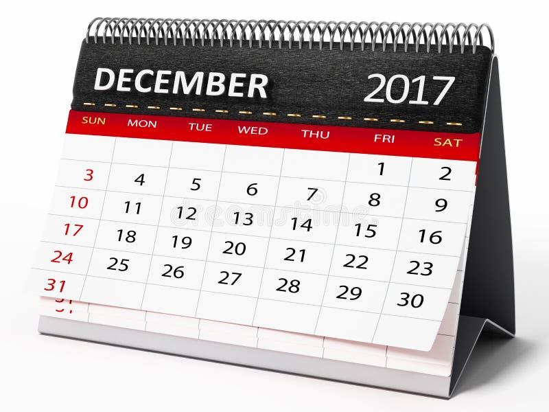 Το Δεκέμβριο του 2017 ημερολόγιο υπολογιστών γραφείου τρισδιάστατη απεικόνιση ελεύθερη απεικόνιση δικαιώματος