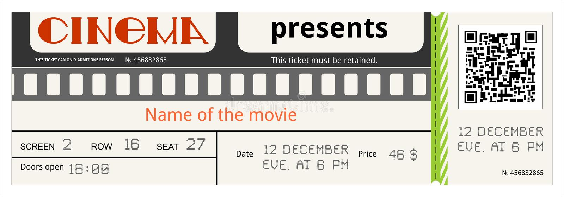 Το δελτίο κινηματογράφων εισιτηρίων κινηματογράφων αναγνωρίζει η πρόσβαση ψυχαγωγίας ότι ταινιών αναγνωρίζει το χαρτόνι απεικόνιση αποθεμάτων