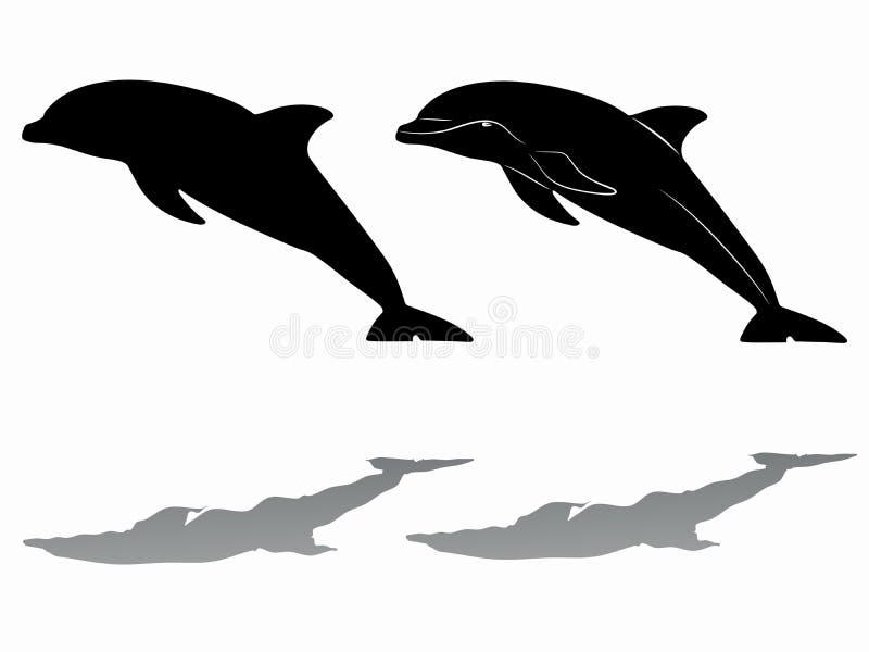 Το δελφίνι σκιαγραφιών, διάνυσμα σύρει διανυσματική απεικόνιση