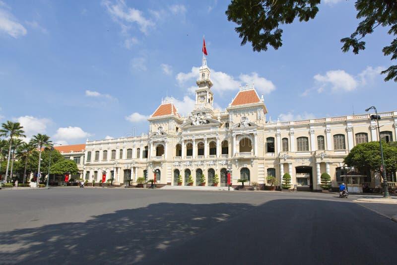 Το Δημαρχείο της πόλης Χο Τσι Μινχ, Βιετνάμ, νοτιοανατολική Ασία (απαγόρευση Nhan Dan Thanh Pho της UY στοκ εικόνες