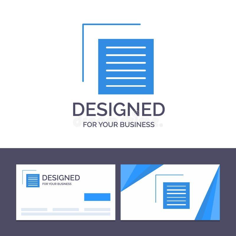 Το δημιουργικό έγγραφο προτύπων επαγγελματικών καρτών και λογότυπων, αρχείο, χρήστης, διασυνδέει τη διανυσματική απεικόνιση απεικόνιση αποθεμάτων