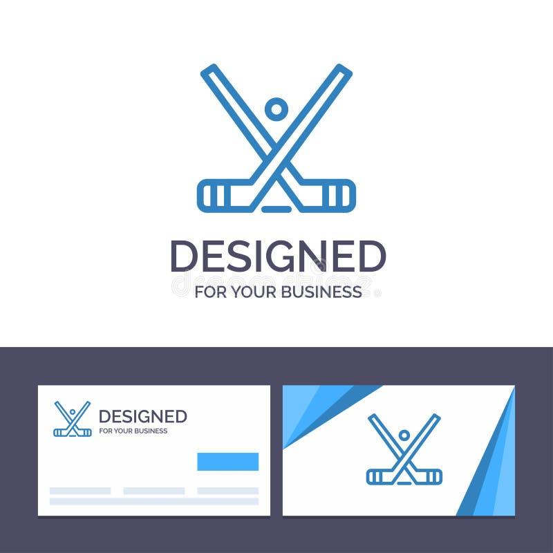 Το δημιουργικό έμβλημα προτύπων επαγγελματικών καρτών και λογότυπων, χόκεϋ, πάγος, ραβδί, κολλά τη διανυσματική απεικόνιση ελεύθερη απεικόνιση δικαιώματος