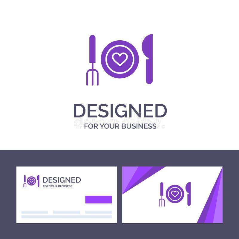 Το δημιουργικό γεύμα προτύπων επαγγελματικών καρτών και λογότυπων, ρομαντικό, τρόφιμα, ημερομηνία, συνδέει τη διανυσματική απεικό απεικόνιση αποθεμάτων