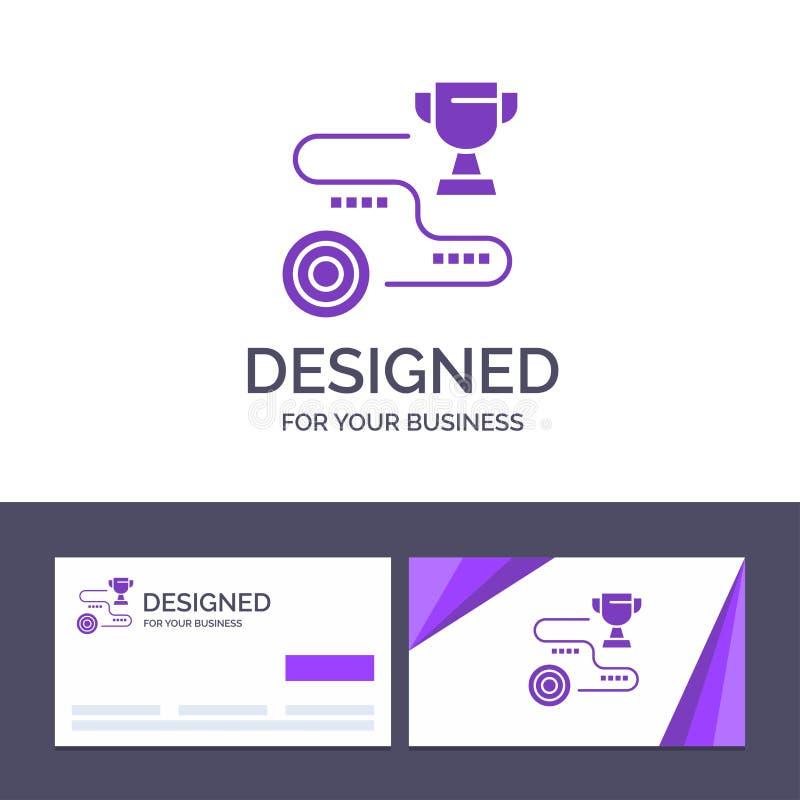 Το δημιουργικό επίτευγμα προτύπων επαγγελματικών καρτών και λογότυπων, στόχος, επιτυχία, πορεία, κερδίζει τη διανυσματική απεικόν διανυσματική απεικόνιση