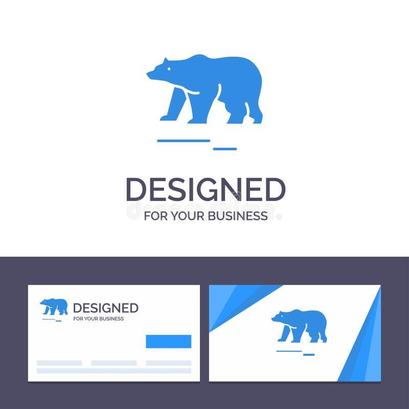 Το δημιουργικό ζώο προτύπων επαγγελματικών καρτών και λογότυπων, αντέχει, πολικός, διανυσματική απεικόνιση του Καναδά ελεύθερη απεικόνιση δικαιώματος