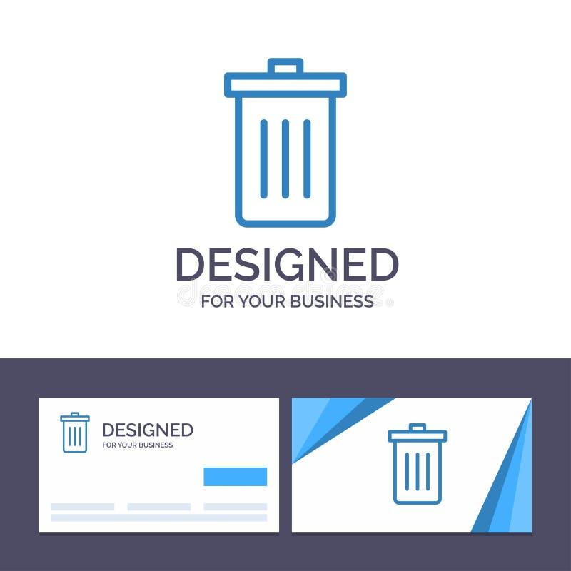 Το δημιουργικό καλάθι προτύπων επαγγελματικών καρτών και λογότυπων, όντας, διαγράφει, απορρίματα, διανυσματική απεικόνιση απορριμ διανυσματική απεικόνιση