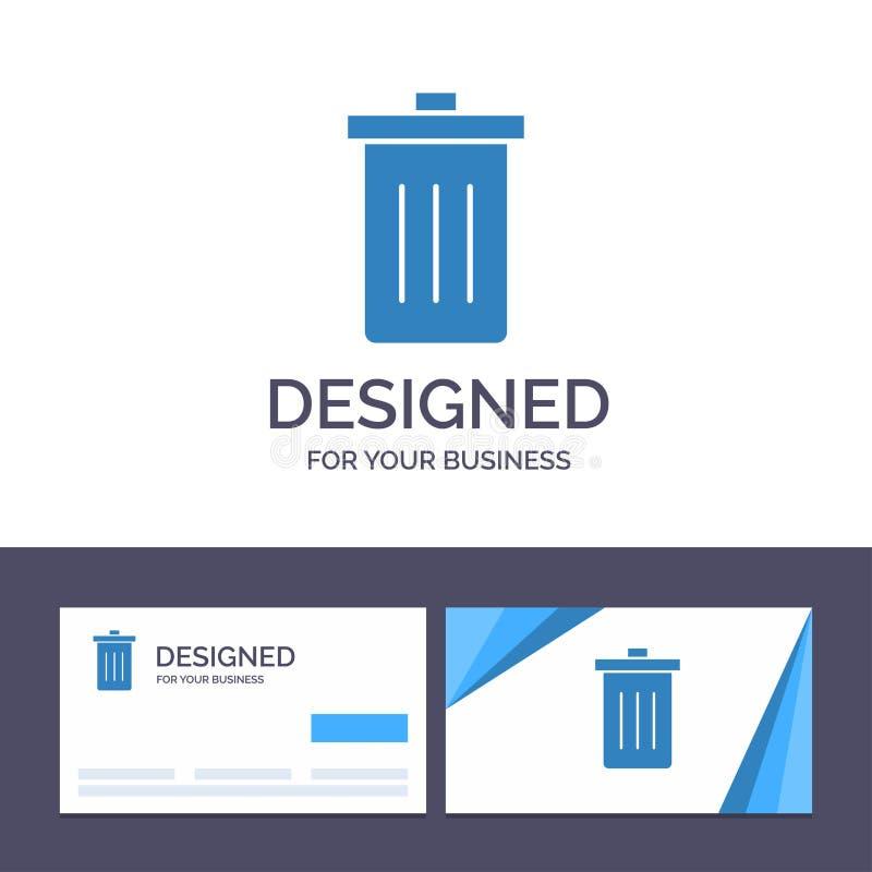 Το δημιουργικό καλάθι προτύπων επαγγελματικών καρτών και λογότυπων, όντας, διαγράφει, απορρίματα, διανυσματική απεικόνιση απορριμ απεικόνιση αποθεμάτων