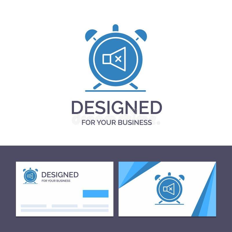 Το δημιουργικό πρότυπο επαγγελματικών καρτών και λογότυπων ανησυχεί, χρονομετρά, μουγγός, μακριά, υγιής διανυσματική απεικόνιση διανυσματική απεικόνιση