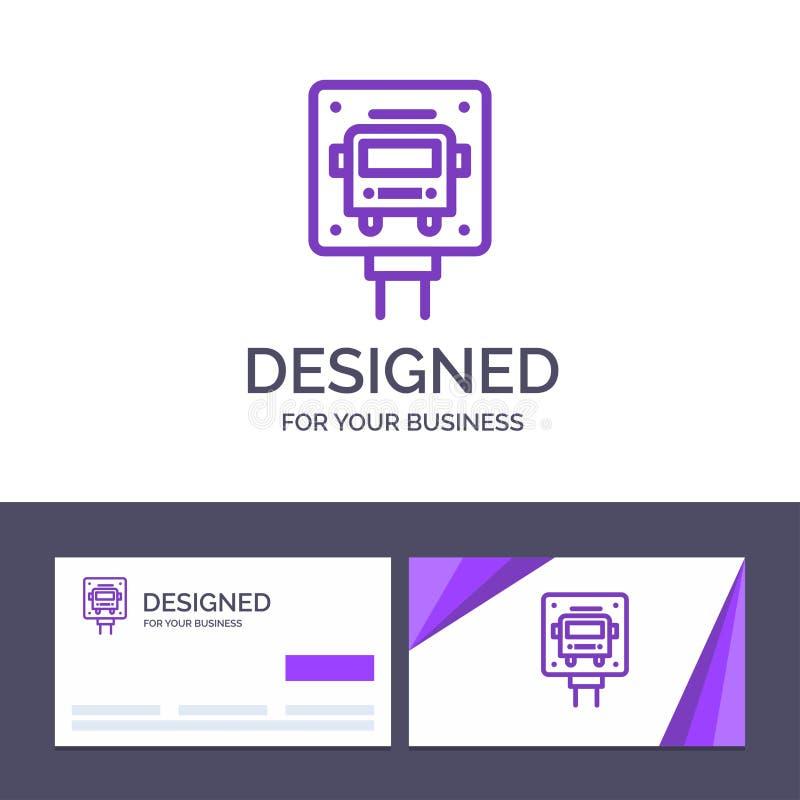 Το δημιουργικό πρότυπο επαγγελματικών καρτών και λογότυπων μεταφέρει, σταματά, σημάδι, δημόσια διανυσματική απεικόνιση απεικόνιση αποθεμάτων