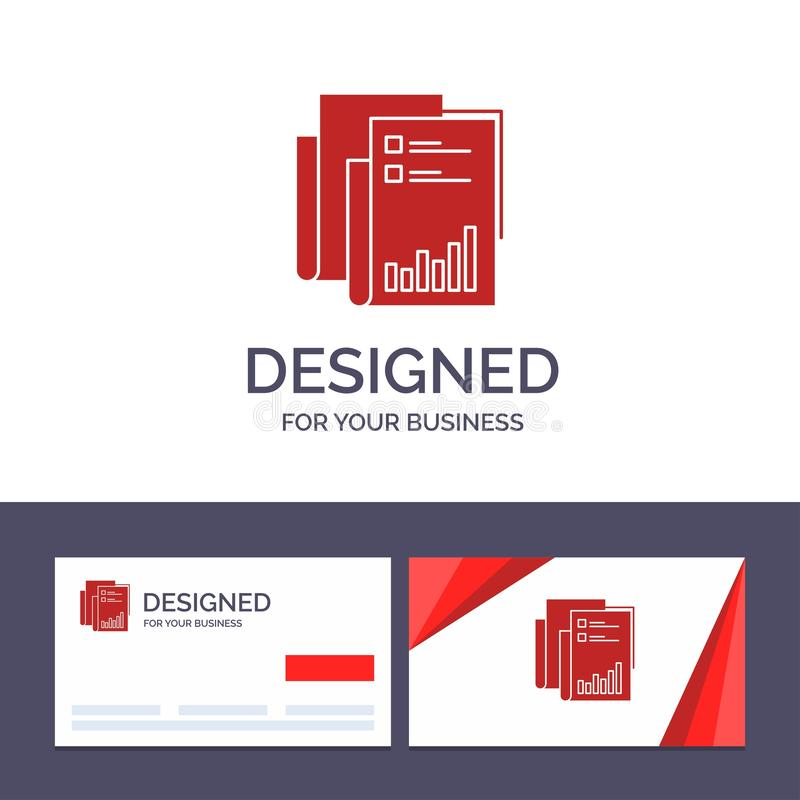 Το δημιουργικό πρότυπο επαγγελματικών καρτών και λογότυπων υποβάλλει έκθεση, Analytics, λογιστικός έλεγχος, επιχείρηση, στοιχεία, διανυσματική απεικόνιση