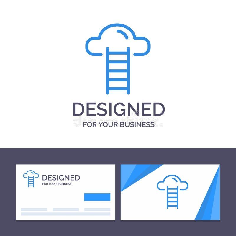Το δημιουργικό σκαλοπάτι προτύπων επαγγελματικών καρτών και λογότυπων, σύννεφο, χρήστης, διασυνδέει τη διανυσματική απεικόνιση ελεύθερη απεικόνιση δικαιώματος