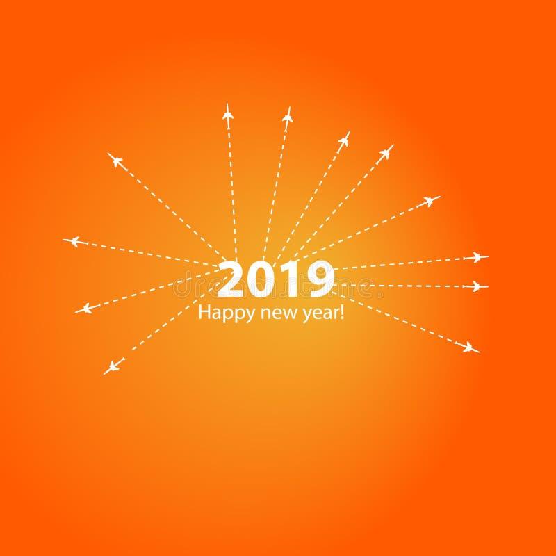 Το δημιουργικό σχέδιο καλής χρονιάς το 2019 με το φραγμό φόρτωσης προόδου με το αεροπλάνο είναι σε μια διαστιγμένη γραμμή Το πετώ διανυσματική απεικόνιση