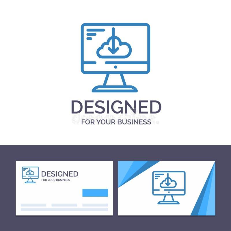 Το δημιουργικό σύννεφο προτύπων επαγγελματικών καρτών και λογότυπων, μεταφορτώνει, οδηγός, εγκαθιστά, διανυσματική απεικόνιση εγκ ελεύθερη απεικόνιση δικαιώματος