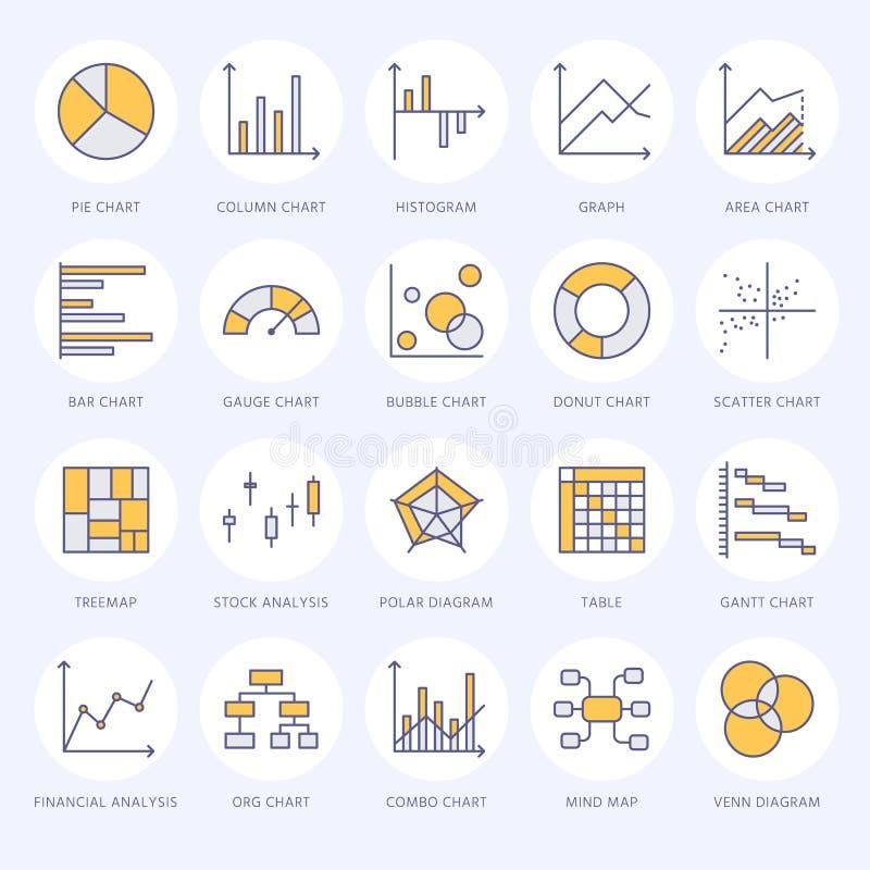 Το διάγραμμα δακτυλογραφεί τα επίπεδα εικονίδια γραμμών Γραμμική γραφική παράσταση, στήλη, doughnut πιτών διάγραμμα, οικονομικές  διανυσματική απεικόνιση