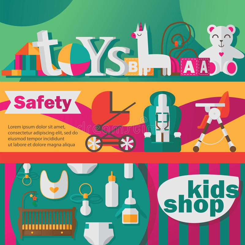 Το διάνυσμα έθεσε με τα οριζόντια εμβλήματα για το νεογέννητο κατάστημα προσοχής μωρών ή το κατάστημα παιχνιδιών παιδιών στα φωτε διανυσματική απεικόνιση