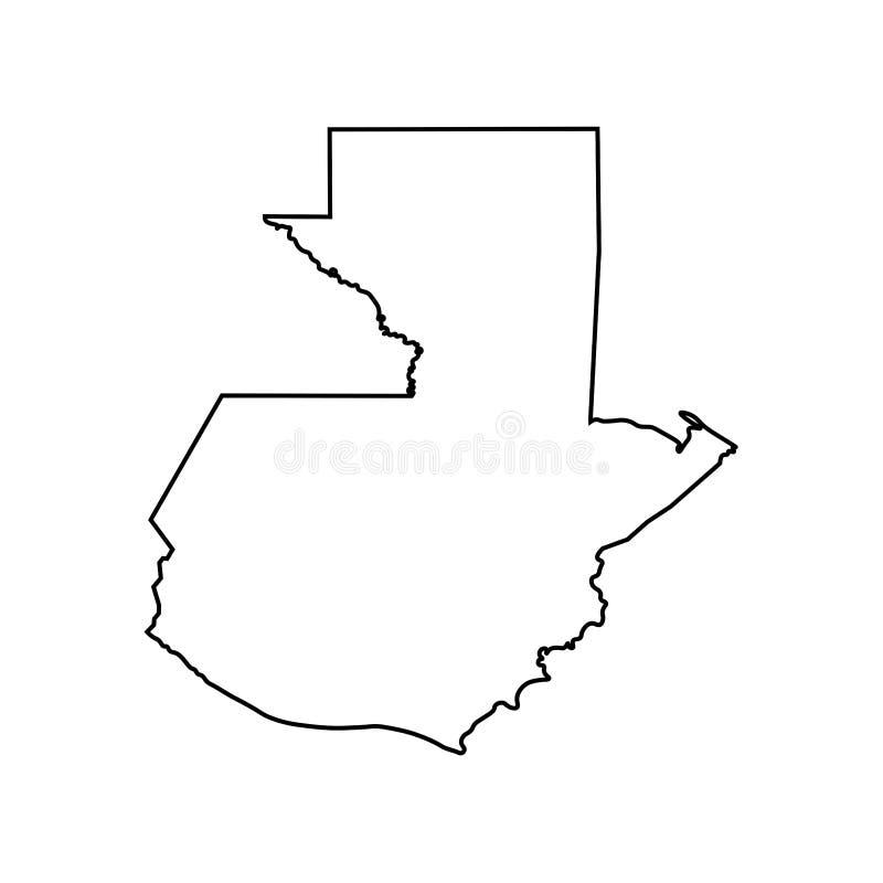 Το διάνυσμα απομόνωσε το εικονίδιο απεικόνισης με τη μαύρη σκιαγραφία γραμμών του απλουστευμένου χάρτη της Γουατεμάλα ελεύθερη απεικόνιση δικαιώματος