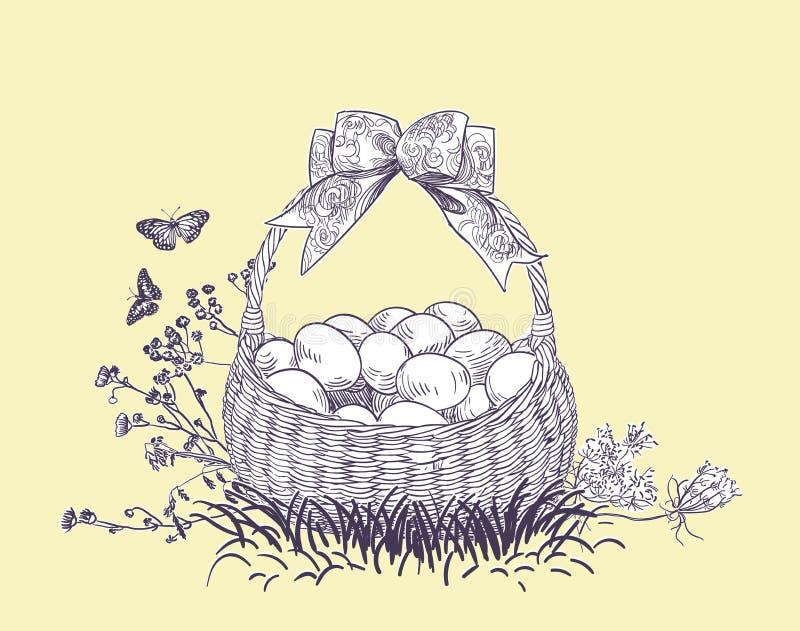 Το διάνυσμα αυγών καλαθιών Πάσχας χαράσσει την κάρτα που απομονώνεται ελεύθερη απεικόνιση δικαιώματος
