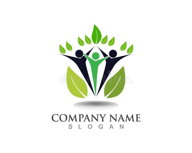Το διάνυσμα αφήνει το πράσινα λογότυπο φύσης και το σύμβολο ανθρώπων διανυσματική απεικόνιση