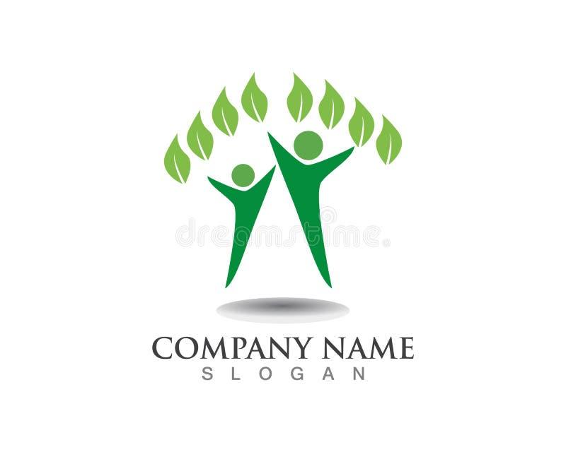 Το διάνυσμα αφήνει το πράσινα λογότυπο φύσης και το σύμβολο ανθρώπων απεικόνιση αποθεμάτων