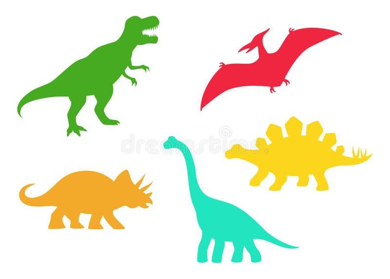Το διάνυσμα δεινοσαύρων σκιαγραφεί - τ -τ-rex, Brachiosaurus, Pterodactyl, Triceratops, Stegosaurus Χαριτωμένοι επίπεδοι δεινόσαυ απεικόνιση αποθεμάτων