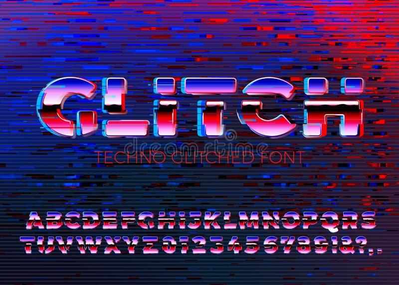 Το διάνυσμα η πηγή techno με τις διαστρεβλώσεις απεικόνιση αποθεμάτων
