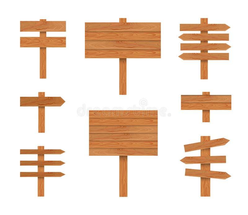 Το διάνυσμα καθοδηγεί την απεικόνιση, ξύλινοι δείκτες καθορισμένοι απομονωμένοι στο άσπρο υπόβαθρο, ξύλινη σύσταση διανυσματική απεικόνιση