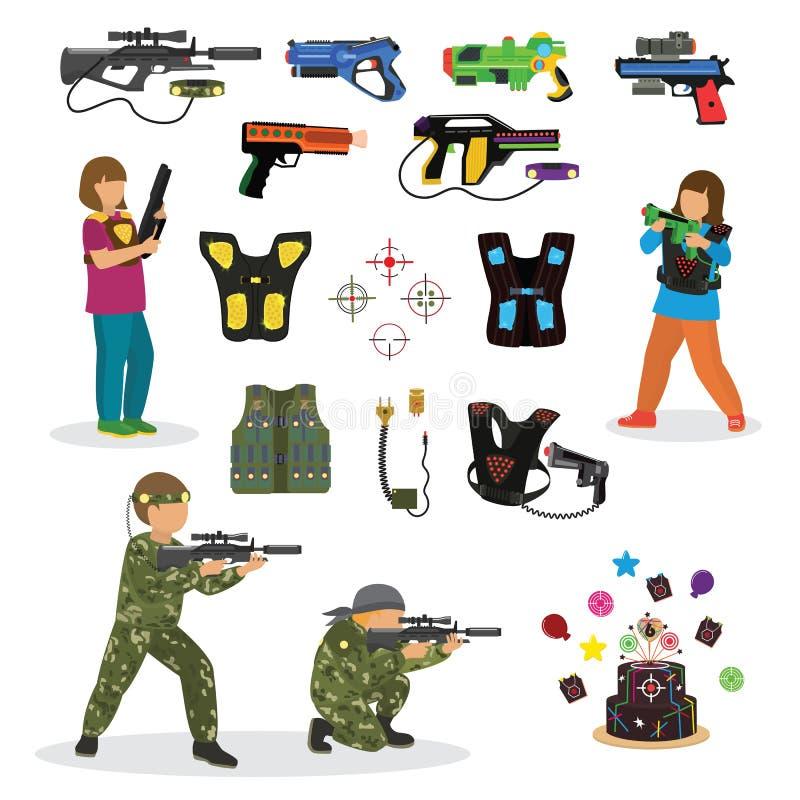 Το διάνυσμα παιχνιδιών διασκέδασης ετικεττών λέιζερ έθεσε στην επίπεδη ύφους πυροβόλων όπλων οπτική εργαλείων ανθρώπων χαρακτήρων ελεύθερη απεικόνιση δικαιώματος