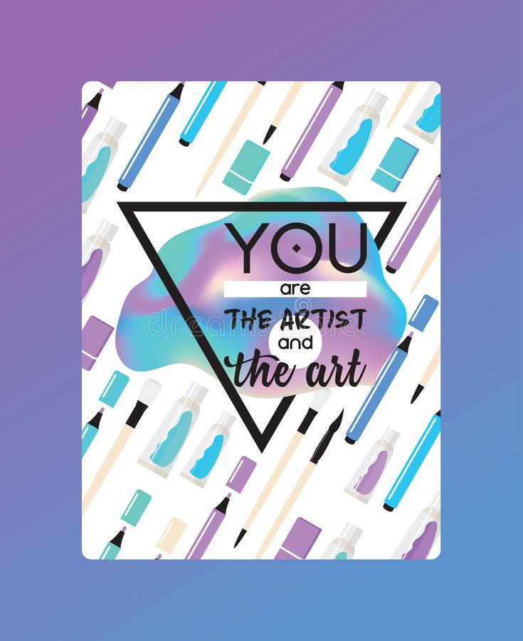 Το διάνυσμα προμηθειών τέχνης που μελετά στο τέχνη-σχολείο με το χρώμα watercolor εργαλείων καλλιτεχνών βουρτσίζει το pencile έργ διανυσματική απεικόνιση