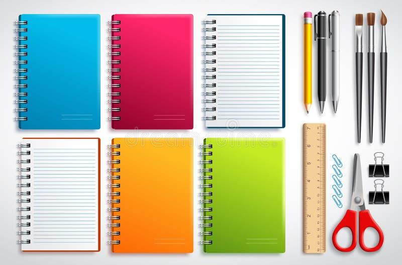 Το διάνυσμα σημειωματάριων έθεσε με τα σχολικά στοιχεία και τις προμήθειες γραφείων που απομονώθηκαν στο άσπρο υπόβαθρο διανυσματική απεικόνιση