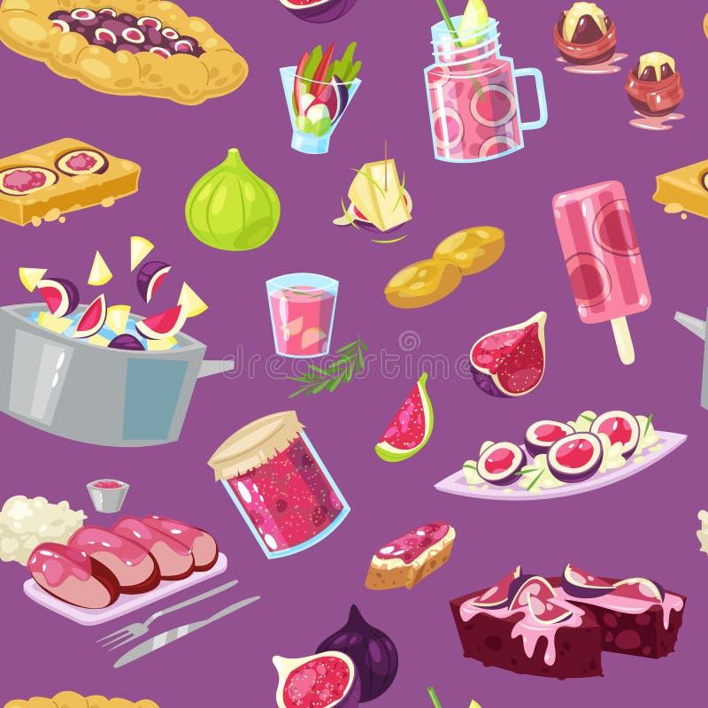 Το διάνυσμα σύκων λογαρίασε τα φρούτα και τη φρέσκια fruity φυσικής μαρμελάδα χυμού ή για το γλυκό σύνολο απεικόνισης επιδορπίων  απεικόνιση αποθεμάτων