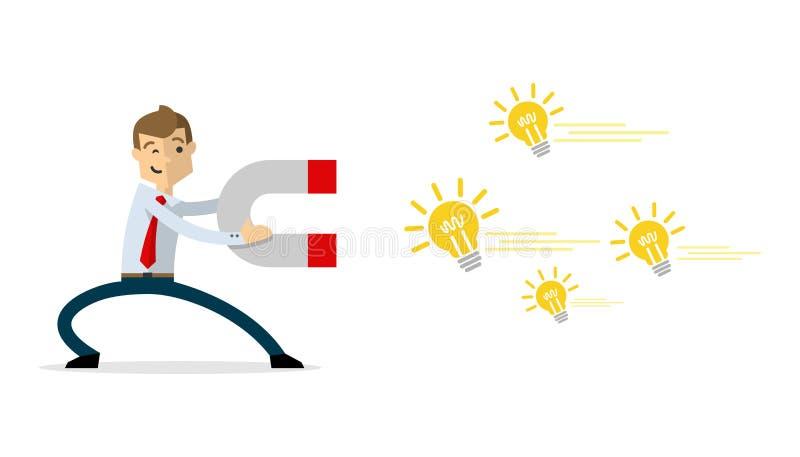 Το διάνυσμα του επιχειρηματία με το μαγνήτη προσελκύει τις ιδέες διανυσματική απεικόνιση